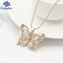 New Arrival Sweater chain Necklace Hight Quality Cat Eye Rhionstone Rose Gold Butterfly Animal Charms Pendant Necklace for Women