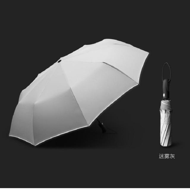 Guarda chuva reflexivo dez bone completo automático guarda chuva três dobrável resistente ao vento high end business guarda chuva duplo
