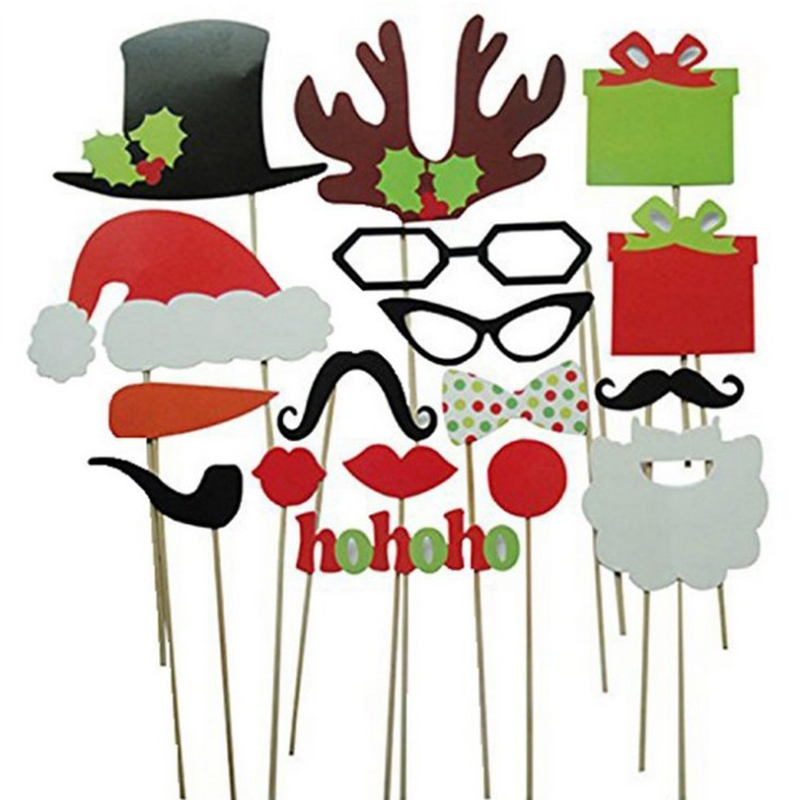 17Pcs Photo Booth Props Christmas Decorations Wedding Party Mr Mrs Married Funny Mask Merry Christmas Photobooth Happy New Year