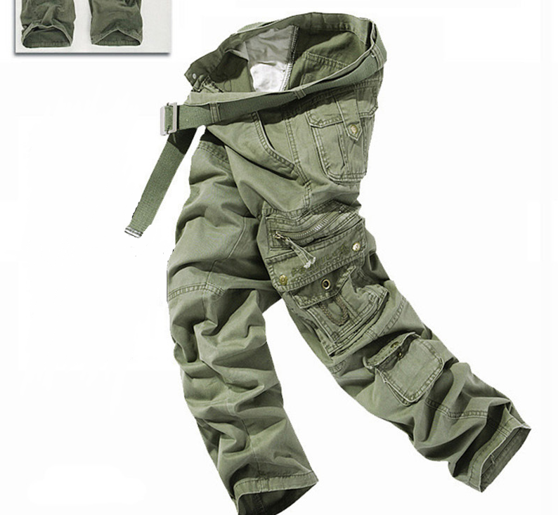 ФОТО Men's Plus Size Multi-Pocket Overalls Cargo Pants Tactical Commandos Styles Loose Full Length 5 Colors Men's Casual Trousers