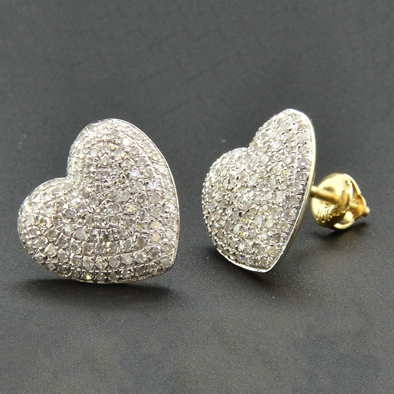 Stud-Earrings Heart-Shape Iced-Out Cubic-Zirconia-Stone Gold-Color Women For AAA Bling