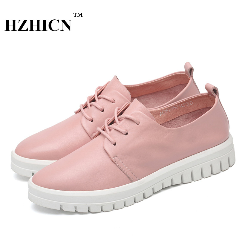 Hot Sale Genuine Leather Shoes Women Soft Comfortable Lace Up Zapatos Mujer High Quality Fashion Oxfords Pigskin Women's Shoes hot sale genuine leather shoes women soft comfortable lace up zapatos mujer high quality fashion oxfords pigskin women s shoes