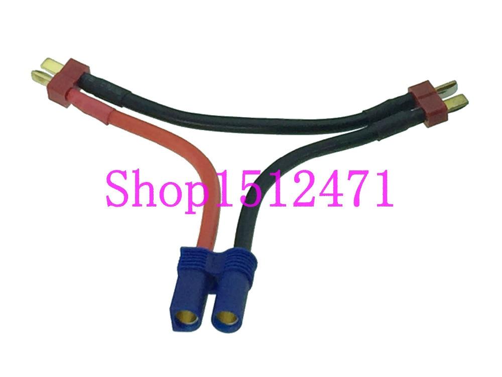 1pce EC5 Female to 2x T-Plug Deans Male Series 12AWG 10CM Battery charger Cable 1pce EC5 Female to 2x T-Plug Deans Male Series 12AWG 10CM Battery charger Cable