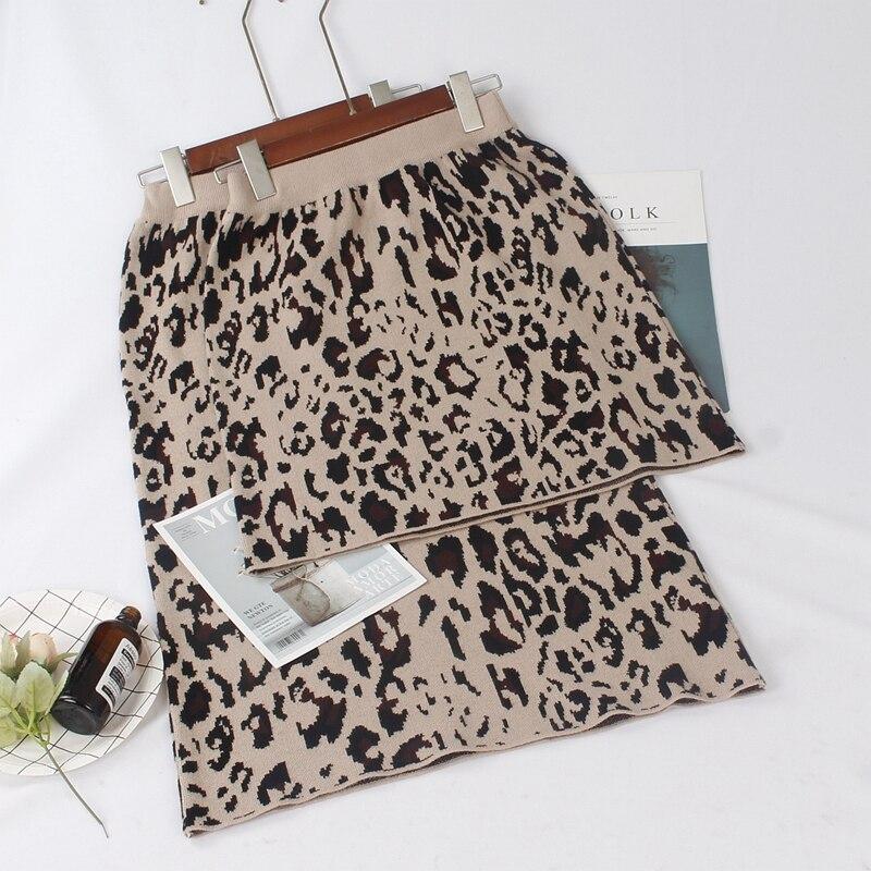 GIGOGOU High Waist Women Knitted Skirts Autumn Winter Fashion Leopard Long Skirt Casual Warm Female Pencil Skirt