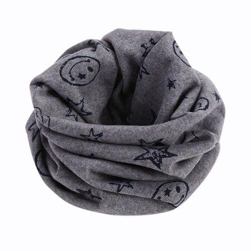 Детский Теплый хлопковый шарф-труба для мальчиков и девочек, шарф-шаль с круглым вырезом, шейный платок с рисунком улыбающегося лица и звезды - Цвет: R73-5