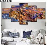 5pcs Diamond embroidery woman and tiger full square round drills diy diamond painting Landscape 5d Cross Stitch wall decoration