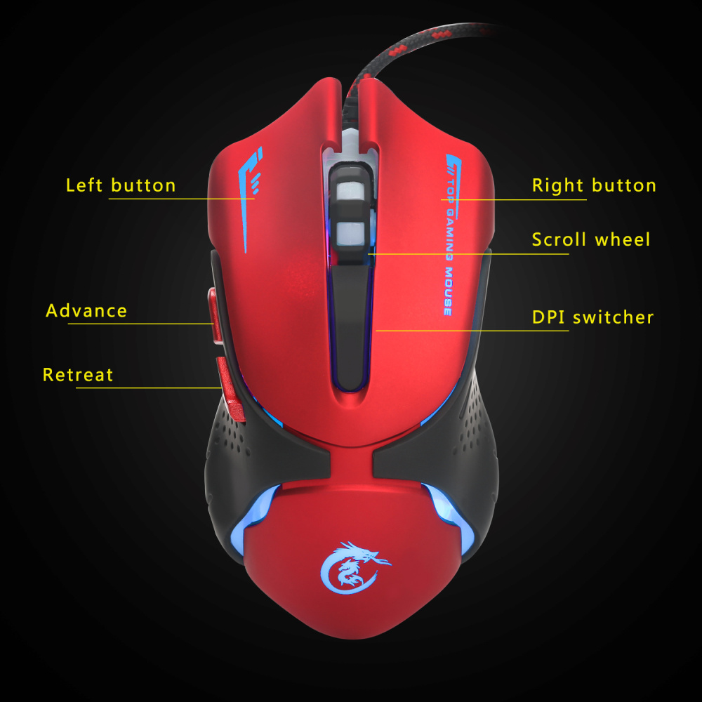 Image 5 - HXSJ 6 Keys Wired Gaming Mouse A903 3200DPI Colorful LED Breathing Light USB Wired Optical Gaming Mouse-in Mice from Computer & Office