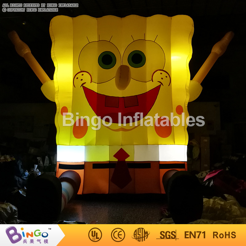 Hot sale 7ft inflatable Light SpongBob model Inflatable Cartoon with Blower N LED Light for decoration inflatable fidget toys free shipping 3m inflatable ice cream with blower hot sale inflatable oxford nylon cloth model for inflatable toys