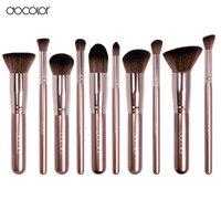 Docolor Makeup Brushes 10pcs 1pcs Make Up Brush Cleaner Coffee Color Professional Make Up Brush Set