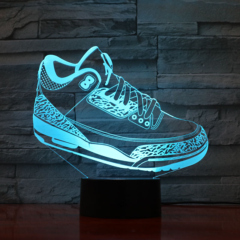 Men Jordan Shoes Basketball Night Light Led 3D Illusion Touch Sensor Boys Child Kids Gifts Table Lamp Bedroom Sneakers Jordan 3