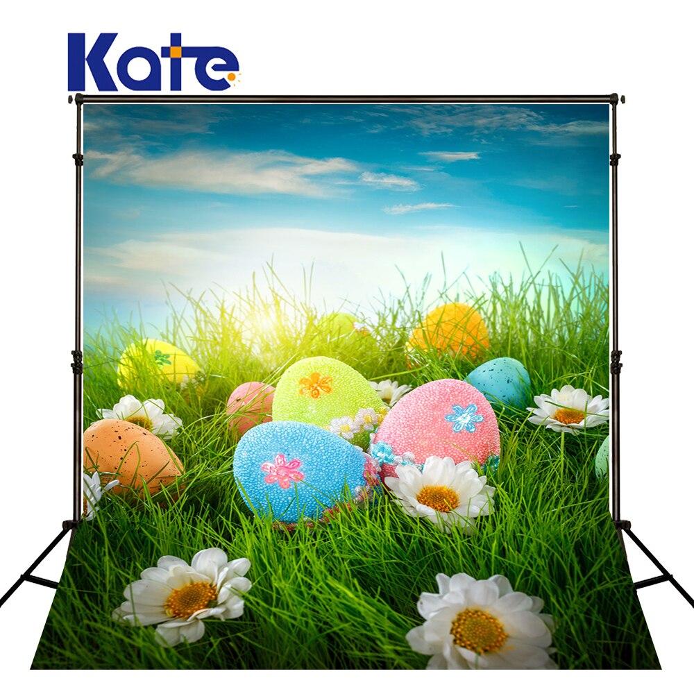 Kate De Pâques Photo Toile de Fond Coloré Oeufs Printemps Décors Photographie Bleu Ciel Photographie Accessoires Studio Enfants Décors