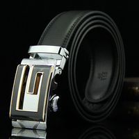 Classic Business Genuine Leather Belt Men 2016 Fashion Formal Trousers Belt Letter G Metal Buckle Gift