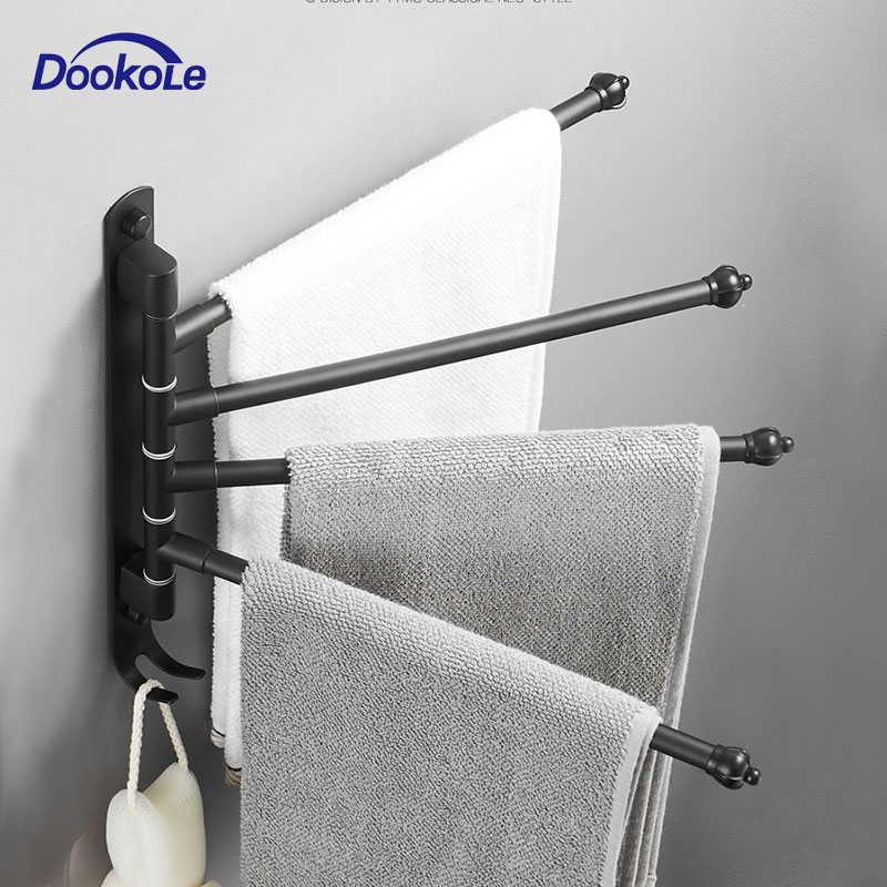 Bathroom Swivel Towel Bar With Hooks, Wall Mounted Swivel Arm Towel Rack Stainless Steel Black Towel Rail Holder With 4 Arms