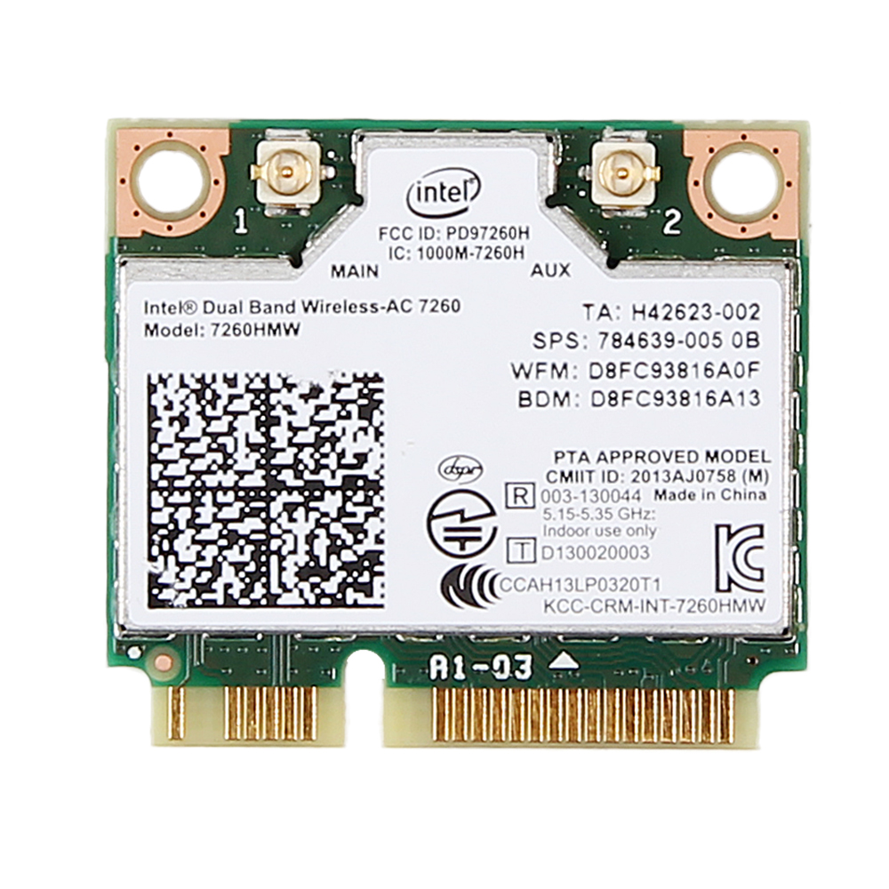 New Dual Band For HP Intel Wireless-AC 7260 7260HMW 80211ac BT40 half Mini PCI-e bluetooth Wireless wifi card SPS 784639-005