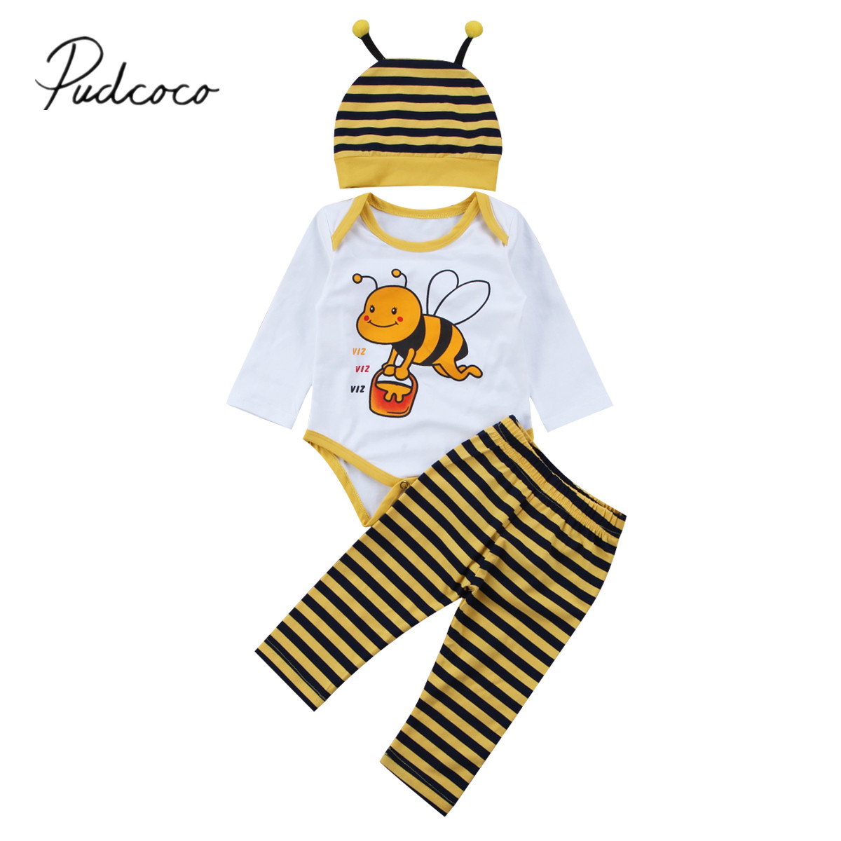2017 Brand New Cute Newborn Toddler Infant Baby Girls Boy Stripes Top Romper Pants Hat 3Pcs Bee Outfits Cute Set Cotton Clothes 2017 newborn baby boy girls clothing 3pcs sets infant toddle girls romper pants hat snuggle on this muggle baby outfit set