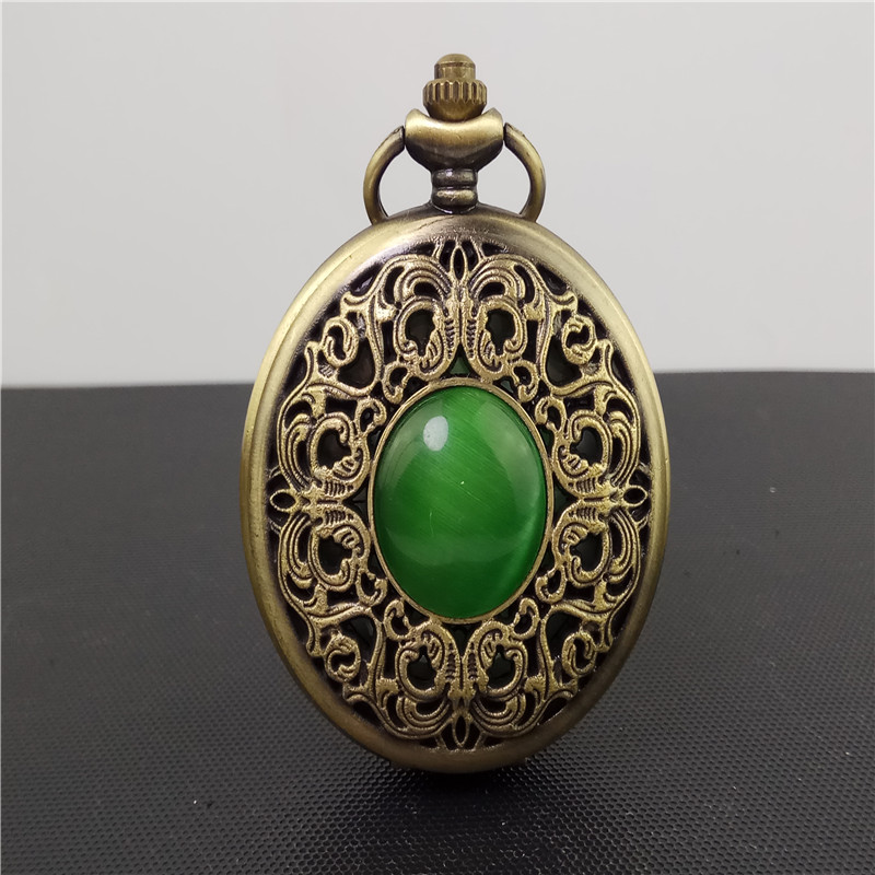 все цены на Vintage Bronze imitation Emerald gem pocket watch Hollow Men Women Quartz Pocket Watch Necklace Pendant gift