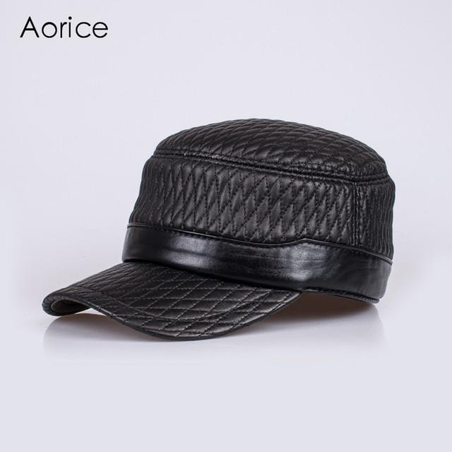 HL080 couro genuíno boné de beisebol/chapéu de couro real dos homens novos da marca exército ajustável bonés/chapéus com 4 cores