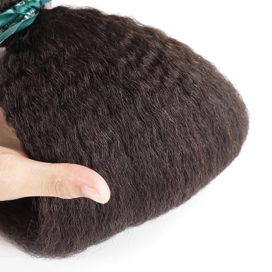 إلاريا الشعر الخشنة ياكي بيرو الإنسان الشعر حزم مع إغلاق غريب مستقيم 100% ريمي الشعر ينسج مع الدانتيل أمامي إغلاق