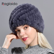 Raglaido Rabbit winter fur hat for Women Russian Real Fur Knitted Cap headgea Winter Warm Beanie Hats 2019 fashion brand LQ11279(China)