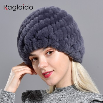 Raglaido Rabbit winter fur hat for Women Russian Real Fur Knitted Cap headgea Winter Warm Beanie Hats 2019 fashion brand LQ11279