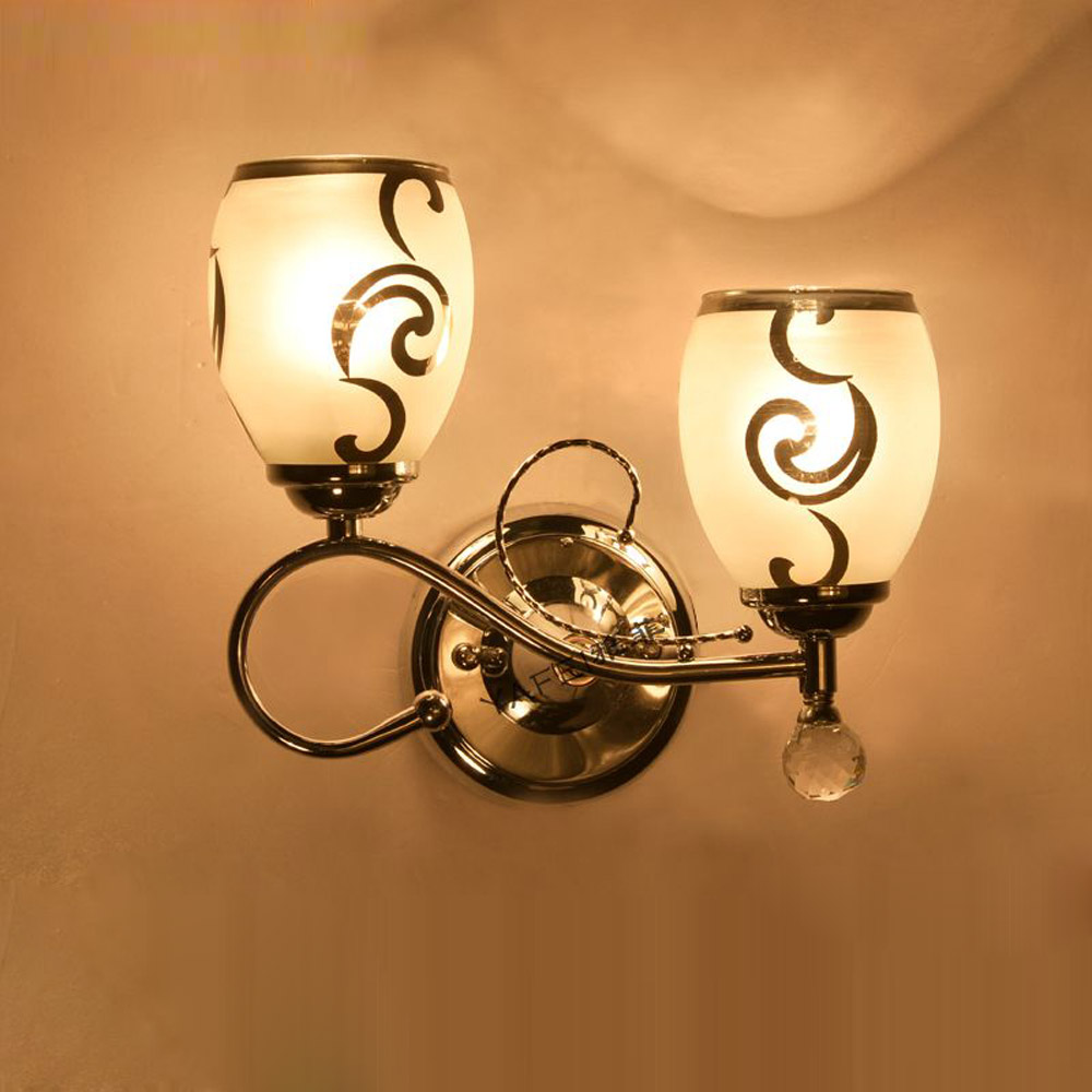 Modern Polished Glass Bedroom Wall Light 2 Heads Corridor Creative Wall Sconces Balcony Study Room Porch Wall Lighting Fixtures modern aluminium wall lamp sconces with fluorescent tube for bedroom study balcony lighting bg44
