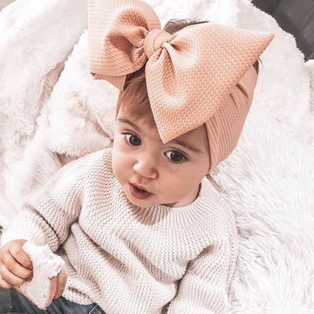 Adjustable Big Bow Headwrap Baby Headband Top Knot Headbands Over Sized Bow Hair Turban Newborn Head Band Girl Large Hair Bows