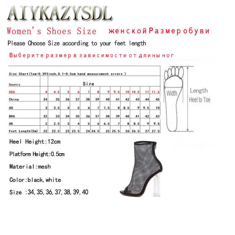 AIYKAZYSDL Kadın Yaz Botları Pompaları Peep Toe Mesh Cut Out Gladyatör Sandalet Yüksek Topuk Kristal Şeffaf Şeffaf Kalın Topuklu