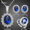Sistemas de la Joyería de moda Piedra de Cristal Azul de La Boda Para Las Novias de Plata Plateada Del Collar Para Las Mujeres Joyería Africana Fija y Más