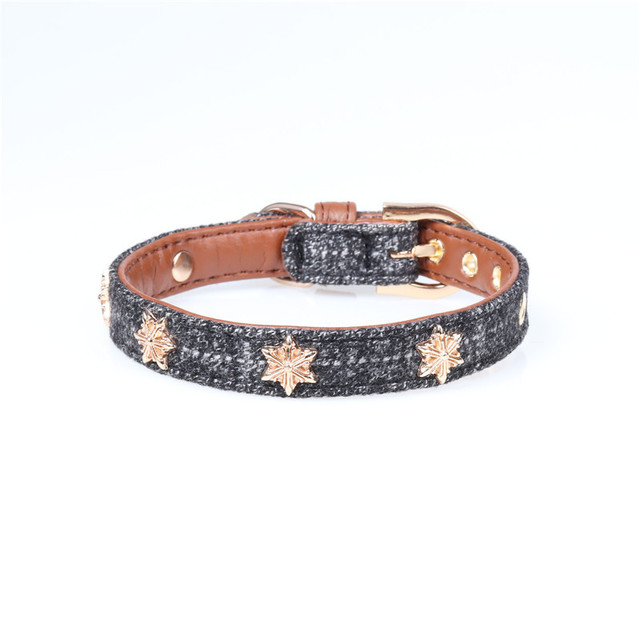 Star Leather Dog Collar Soft Fashion Pet Collars For Small Dogs Supplies Accessories Dog Chihuahua Pet Products 20 A by Miss Doggy