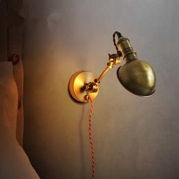 Loft retro industrial wall lamp American vintage study pffice bedroom aisle wall light bronze color corridor lighting fixtures
