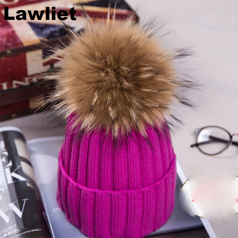 100%High Quality Womens Girls Winter Beanie Hats with Real Raccoon Fur Pom Pom Wool Knittd Cuff Hat Warm Snow Casual Cap A382