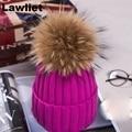 100% de Alta Qualidade Mulheres Meninas Inverno Beanie Chapéus com Verdadeira Pele De Guaxinim Pom Pom De Lã Knittd Manguito Chapéu de Neve Quente Casual Cap A382