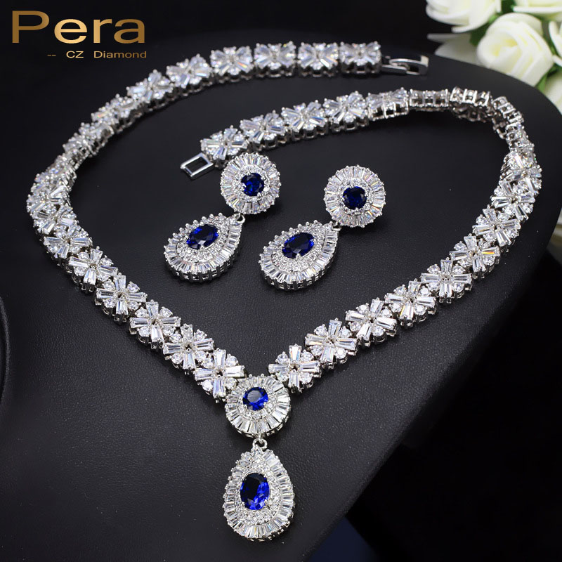 Pera Luxurious Bridal Wedding Gift Jewelry Set Blue And White Crystal Stone Big Water Drop Necklace And Earrings For Women J062 stylish water drop fringe resin necklace and earrings for women