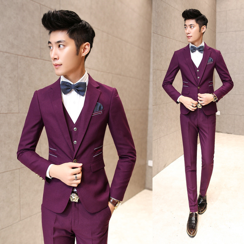 2017 Nuevo Llega El Hombre Púrpura Trajes de Los Hombres de Moda Negro Formal de La