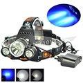 Blue/White 3000Lm Bicycle Headlamp Lantern,1T6+2R2 LED Beads 3 Modes Led Headlight,Fishing Flashlight Head Lamp Light+Charger
