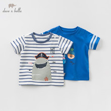 DBJ10359 dave bella summer baby boys fashion T shirt children cartoon striped tops girls high quality pullover kids casual tees