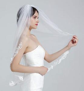 """Image 3 - Velo de novia con peine, 1 nivel, borde de encaje, longitud de la yema del dedo, 36 """", accesorios de novia, velo de marfil"""