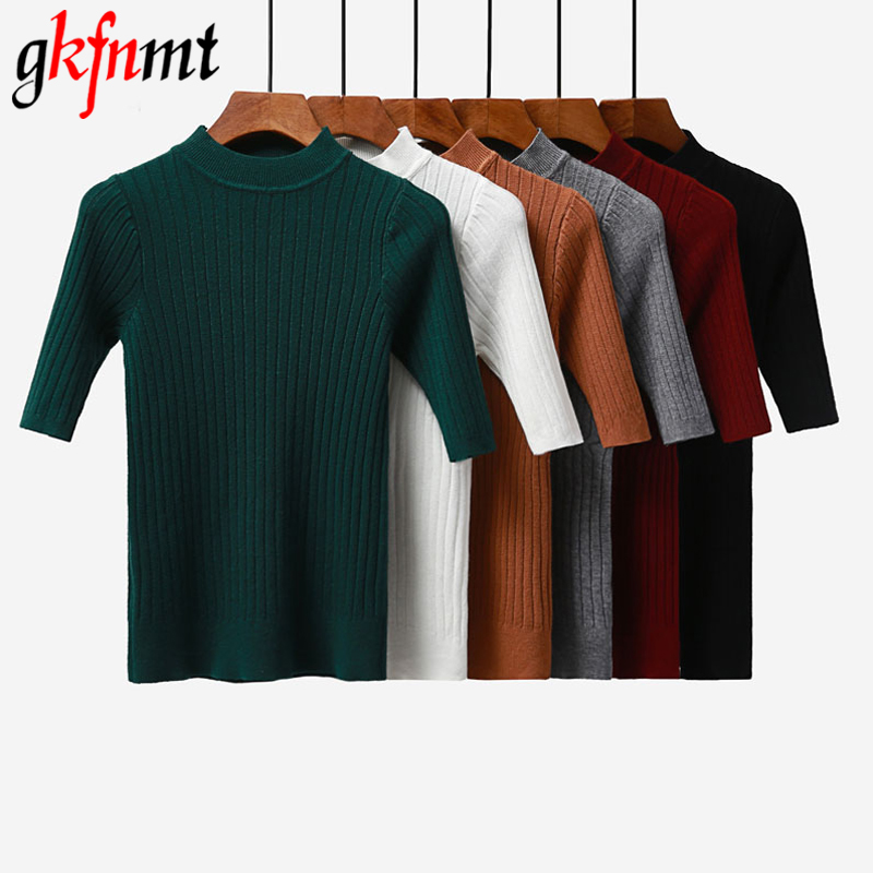 Gkfnmt 2018 New Knitted Slim Pullover Women Turtleneck Knitted Sweater Shirt Female All-match Basic Half Sleeve Tops Clothing