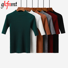 Фотография Gkfnmt 2018 New knitted Slim Pullover Women Turtleneck Knitted Sweater Shirt Female All-match Basic Half Sleeve Tops Clothing