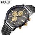 Baogela dos homens do cronógrafo de quartzo-relógio banda malha de aço inoxidável de ouro relógios homens magros relógios multi-função esportes wristwatche