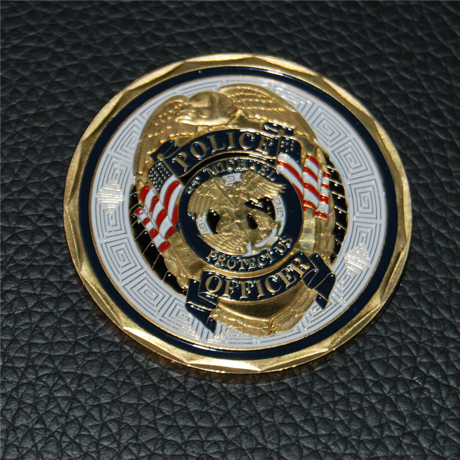 5pcs/lot free shipping Police Officer ST Michael Patron Saint of Law Enforcement Challenge Coin