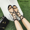 Roman Style Strappy Mid-Calf Gladiator Sandals Lace-Up Rivet Flat Summer Fashion Gladiator Sandals