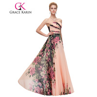 7503 Free Shipping Sweetheart Floral Print Chiffon Satin Formal Evening Dress Long Celebrity Dresses Elegant 2015