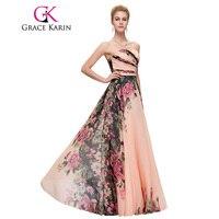 Grace karin długa suknia floral drukowane suknie sweetheart piętro długość korowód strona vestido de festa specjalne okazje 2017