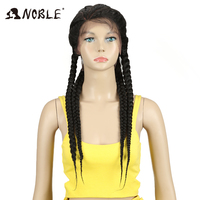 Noble Synthetic Lace Front Wig 1b#Color Baby Hair 26 African American Hair Synthetic Lace Front Box Braids Wigs For Black Women