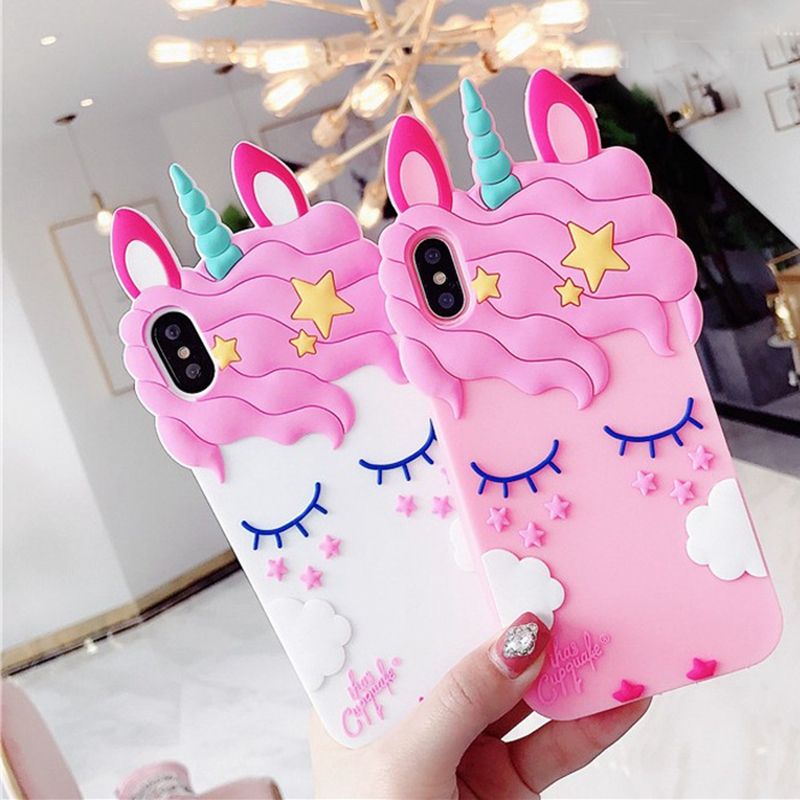3D Unicorn Phone Cases For iphone 5S 6 6S 7 8 Plus Coque 3D Silicon Case Back Cover For Samsung A5 J5 J510 J3 2016 J7 2017 Capa image