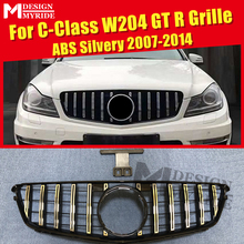 For MercedesMB w204 grille grill GT R style ABS silver without sign C class C180 C200 C250 C300 C63 Look Front grills 2007-2014