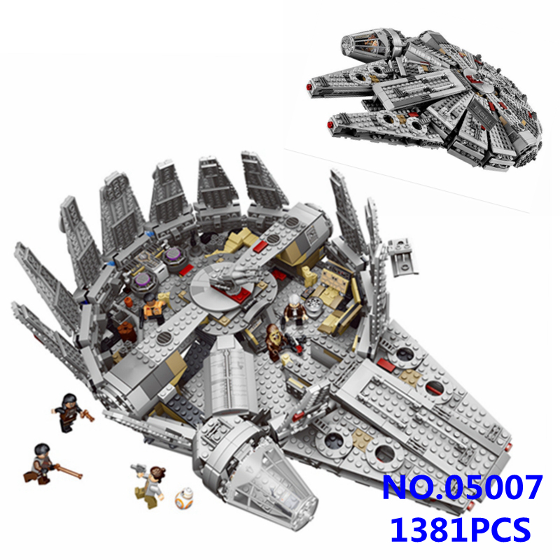 1381pcs Millennium Falcon Model Star Space Ship Wars Marvel Building Blocks Bricks Toys for Children Compatible with 10467 05007 2015 high quality spaceship building blocks compatible with lego star war ship fighter scale model bricks toys christmas gift