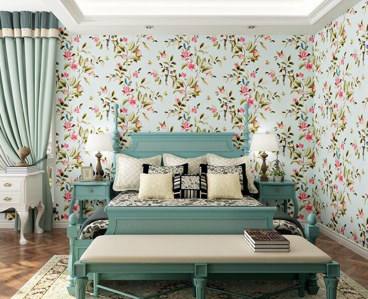 ФОТО 3D Modern Wallpapers Home Decor Flower Wallpaper 3D Non Woven Wall paper Roll Bird Trees Wallpaper decorative wedding Wallpaper