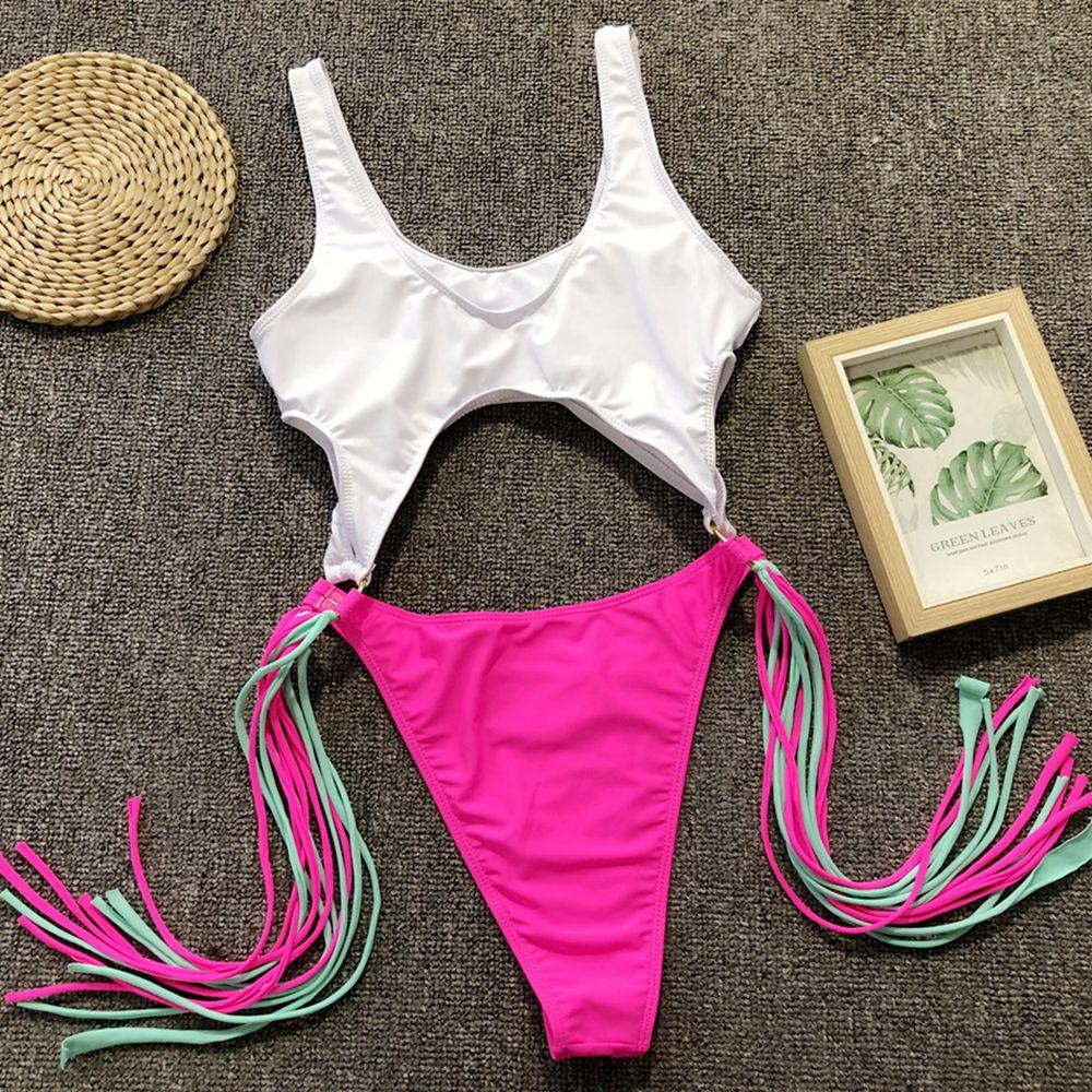 ALI shop ...  ... 32967760617 ... 5 ... High Leg Cut Swimwear Cute Girl Swimsuit Tassels Monokini 2019 Sexy Pink Halter Cut Out Bandage Trikini Swim Beach Bathing Suit ...